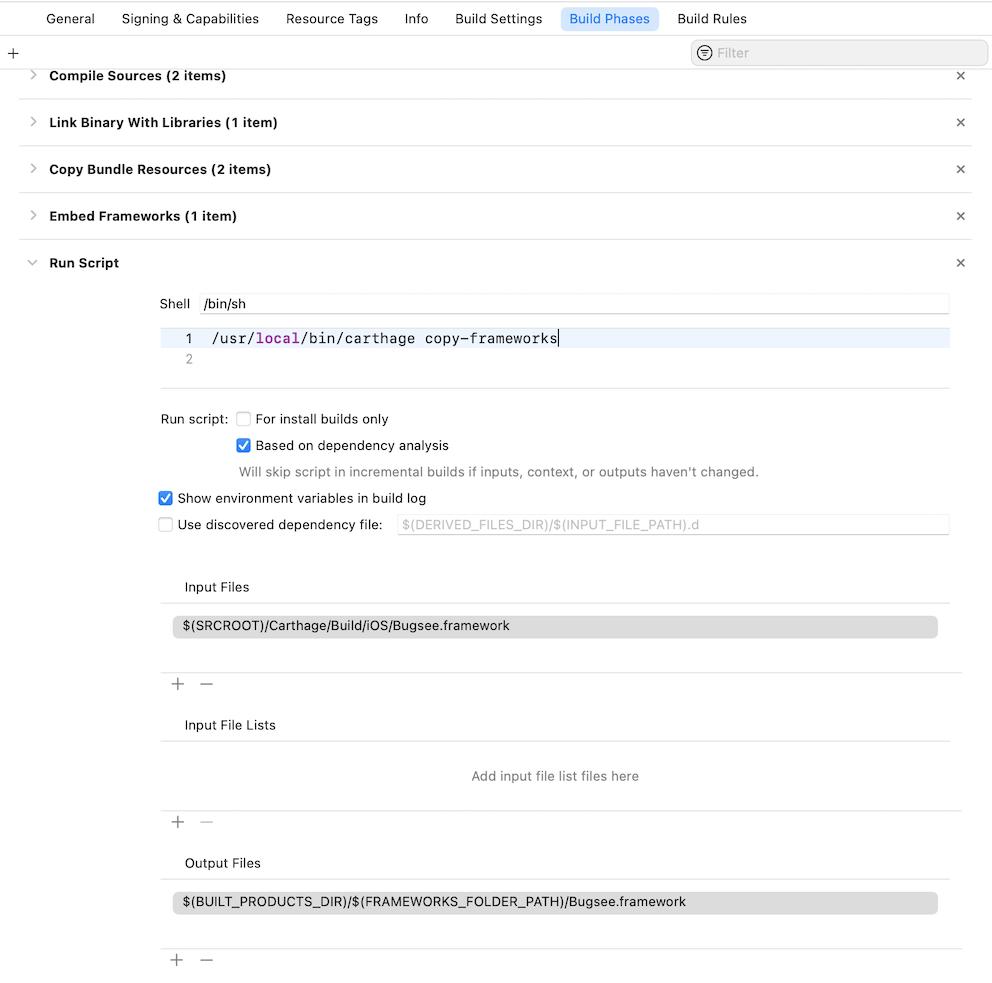 Installation - IOS SDK - Documentation - Bugsee